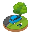 Car crashed into tree Car crash collision traffic vector image