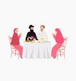 dinner muslim ramadhan iftar woman and man enjoy vector image
