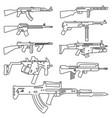 firearm set automatic rifle machine gun outline vector image
