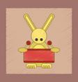 flat shading style icon kids rabbit drummer vector image