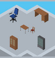 isometric furnishing set of cabinet office chair vector image