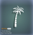 Palm icon On the blue-green abstract background vector image