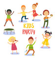 set of kids children having fun at birthday party vector image