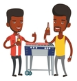 Young friends having fun at barbecue party vector image