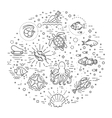 Marine life icon set Nautical design elements vector image