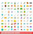 100 archeology icons set cartoon style vector image