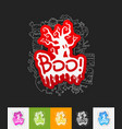 boo paper sticker with hand drawn elements vector image
