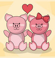 loving couple pigs animal baby heart decoration vector image
