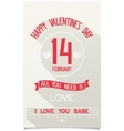 Beautiful Happy Valentines Day poster vector image vector image