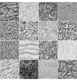 Set 3 Sixteen black and white wave patterns vector image