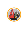 Mechanical Digger Construction Worker Circle vector image vector image
