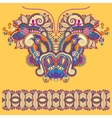 Neckline yellow ornate floral paisley embroidery vector image