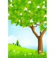 Trees Flowers Clouds and Sea vector image vector image