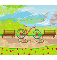 bicycle stands in the park between the benches vector image