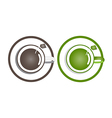 Coffee and green tea in a cup on a white vector image