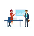 colleagues discuss state of affairs in company vector image