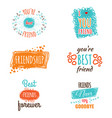 friendship logos set with text labels vector image