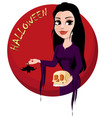happy halloween party beautiful lady in gothic vector image