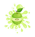 sliced green apple juice splashing colorful fresh vector image