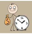 Time is money Man holding bag of money and hours vector image