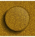glass circle button on shiny gold sequins vector image