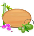 Wooden Board with Green Teapot vector image