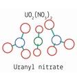 Uranyl nitrate UO2N2O6 molecule vector image
