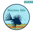 simple emblem with lion fish vector image