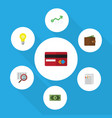 flat icon gain set of billfold growth scan and vector image