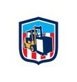 Forklift Truck Materials Logistics Shield Retro vector image vector image
