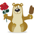 Smiling bear with red rose vector