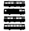 black silhouettes of retro buses vector image