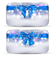 Christmas glowing cards with gift bows isolated vector image