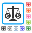 currency scales framed icon vector image