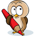 cute owl hold pencil cartoon - isolated on w vector image