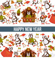 happy new year 2018 cartoon dog celebrating vector image