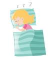 little girl sleeping on pillow vector image