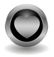 Metallic heart button vector image