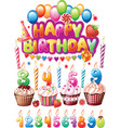 Set for Birthday cards vector image vector image
