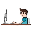 cartoon guy working space with desk laptop vector image