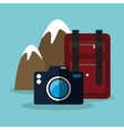 snowy mountain baggage photo camera vector image