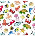 Sea ocean animals fish seamless cartoon pattern vector image
