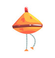 cute cartoon orange robot cone with legs character vector image