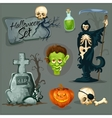 Cartoon scary elemens for Halloween vector image