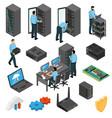 datacenter equipment isometric set vector image