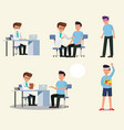 doctor and patient character activity set doctor vector image
