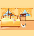 girl sleeping in yellow bedroom vector image