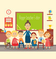 teacher and students pupils in the classroom vector image
