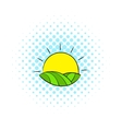 Sun over fields of France icon comics style vector image