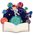 astronaut flying in space and blank book vector image
